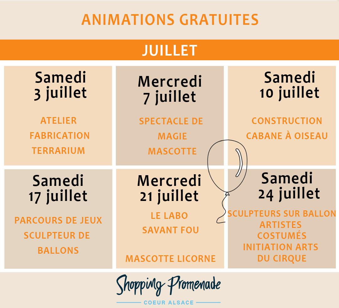 Animations gratuites du mois de juillet