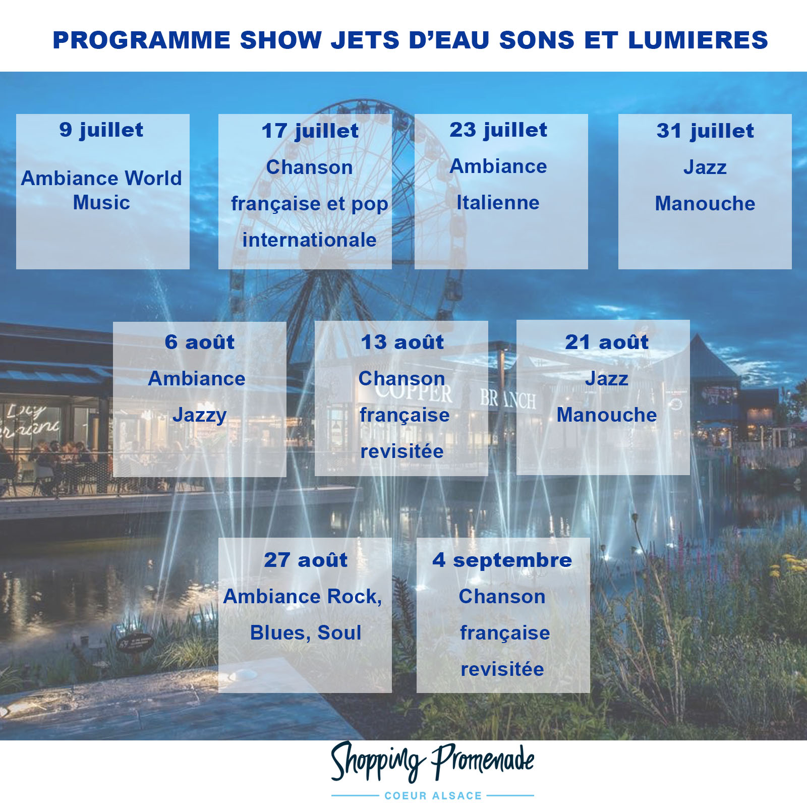 Programmation : show jets d'eau, sons et lumières