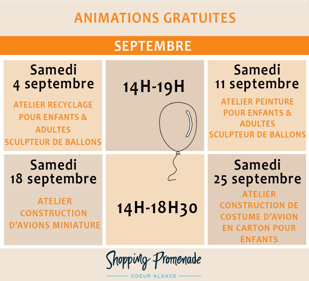 Animations gratuites du mois de septembre