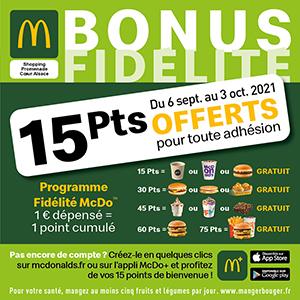 Bonus Fidélité McDo : 15 points offerts pour toute adhésion !