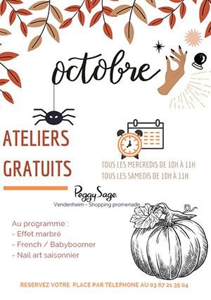 Les ateliers d'octobre à Peggy Sage !